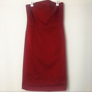 Ann Taylor Embroidered Strapless Red Dress